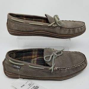 LL Bean Flannel Lined Leather Slippers Sz 10 Gray